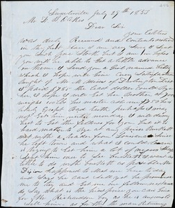 A. J. McElveen, Sumterville, S.C., autograph letter signed to Ziba B. Oakes, 29 July 1853