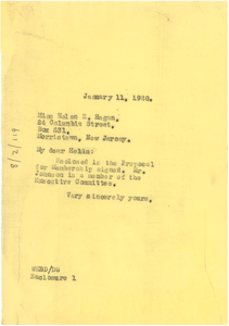 Letter from W. E. B. Du Bois to Helen E. Hagan