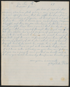 Elizabeth E. Tidd autograph letter signed to [Thomas Wentworth Higginson], Lee [Maine], 16 November [18]59