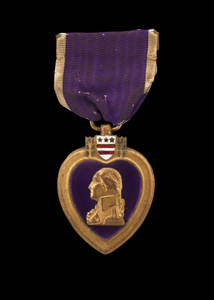 Purple Heart medal issued to Cpl. Lawrence Leslie McVey