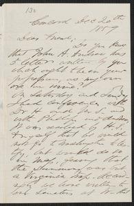 F. B. Sanborn autograph letter to [Thomas Wentworth Higginson], Concord, 20 December 1859