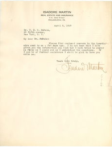 Letter from Isadore Martin to W. E. B. Du Bois
