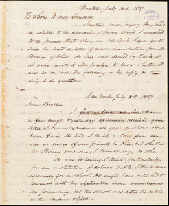 Letter from Amos Augustus Phelps, Boston, to Simeon Smith Jocelyn, July 14th 1837