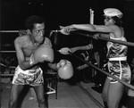 Sammy Davis, Jr. and Altovise Davis in a boxing ring, Los Angeles