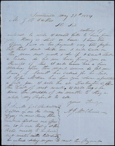 A. J. McElveen, Sumpterville, S.C., autograph note signed to Ziba B. Oakes, 27 May 1854