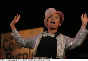 Performer Raising Both Hands on Stage Hip Hop Broadway: The Musical