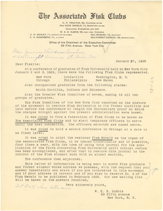 Circular letter from the Associated Fisk Clubs to Jennie Childress-Buckner