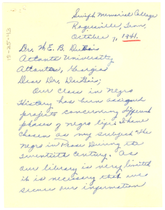 Letter from Louise Young to W. E. B. Du Bois