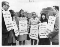 Hartford teachers picket line, threatening to strike, Hartford, 1968
