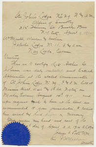 Letter of introduction from St. John's Lodge, 1912 April 9