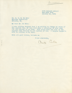 Letter from Countee Cullen to W. E. B. Du Bois