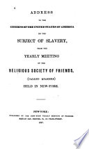 Address to the citizens of the United States of America on the subject of slavery