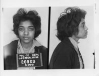 Mississippi State Sovereignty Commission photograph of Catherine Burks following her arrest for her participation in the Freedom Rides, Jackson, Mississippi, 1961 May 28