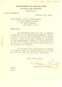 Letter from United States Department of Agriculture, Bureau of Education to National Association for the Advancement of Colored People