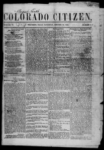 Colorado Citizen (Columbus, Tex.), Vol. 6, No. 1, Ed. 1 Saturday, October 20, 1866 The Colorado Citizen