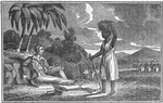 [An African woman, carrying a basket on her head, stops to talk with a white man]