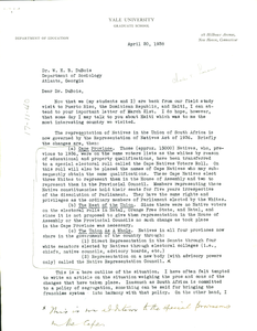 Letter from C. T. Loram to W. E. B. Du Bois