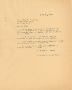 Letter from unidentified correspondent to Arthur B. Spingarn
