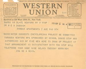 Telegram from Ira de Augustine Reid to W. E. B. Du Bois