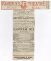 """[Program for Haverly""""s Theatre, """"Louis XI"""" and """"The Belle""""s Stratagem""""]"""