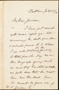 Letter from Edmund Quincy, Dedham, [Mass.], to William Lloyd Garrison, July 25 / [18]72