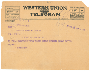 Telegram from L. M. Hershaw to W. E. B. Du Bois