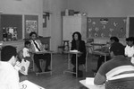 Career Day participants in a classroom, Los Angeles, 1985