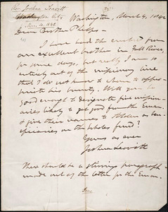 Letter from Joshua Leavitt, Washington, to Amos Augustus Phelps, March 4, 1842