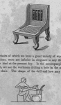 Representation of an Egyptian chair; representation of a workmen drilling a hole in the seat of a chair