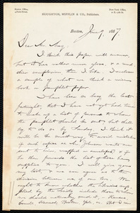 Letter from Francis Jackson Garrison, Boston, to Samuel May, June 9, 1887