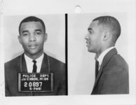 Mississippi State Sovereignty Commission photograph of Dion Tyrone Diamond following his arrest for his participation in the Freedom Rides, Jackson, Mississippi, 1961 May 25