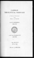 Gammon Theological Seminary and School of Missions Annual Catalog 1923-1924, Vol. XLI