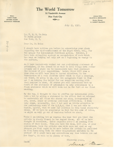 Letter from Devere Allen to W. E. B. Du Bois