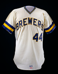 Milwaukee Brewers jersey, worn by Hank Aaron