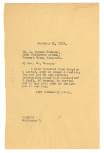 Letter from W. E. B. Du Bois to J. Thomas Newsome