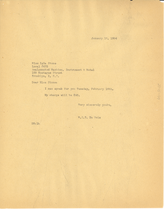 Letter from W. E. B. Du Bois to Lulu Stone
