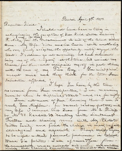 Letter from William Cooper Nell, Boston, [Mass.], to William Lloyd Garrison, April 9th 1873