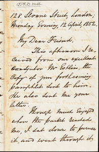 Letter from George Thompson, London, [England], to Richard Davis Webb, 1852 April 12