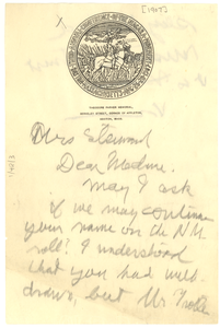 Letter from W. E. B. Du Bois to Mrs. Steward