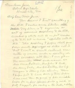 Letter from W. E. B. Du Bois to Anna Jones