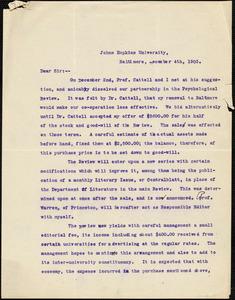 Baldwin, James Mark, 1861-1934 typed letter signed to Hugo Münsterberg, Princeton, N.J., 4 December 1903