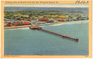 Fishing pier & beach from the air, Virginia Beach, Va.