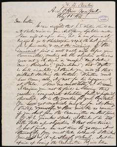 Letter from Henry Brewster Stanton, New York, to Amos Augustus Phelps, Feby 15. 1838