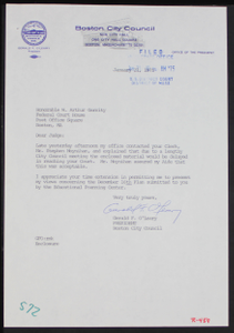 Letter and Enclosure from Boston City Council President Gerald F. O'Leary to Judge W. Arthur Garrity Regarding the December 16th Student Desegregation Plan Submitted by the Education Planning Center