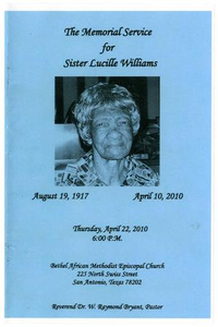 Funeral Program for Lucille Williams, April 22, 2010 The Memorial Service for Sister Lucille Williams
