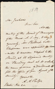 Letter from Amos Augustus Phelps, Boston, to Francis Jackson, Dec. 20. [1838]
