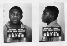 Mississippi State Sovereignty Commission photograph of Charles McDew following his arrest in Baton Rouge, Louisiana, 1962 February 17
