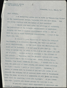 Baldwin, James Mark, 1861-1934 typed letter (copy) to J.Mc. K. Cattell, Princeton, N.J., 2 December 1903