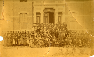 Thumbnail for Fisk University faculty and students in front of Jubilee Hall
