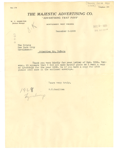 Letter from Boomer Junior High School to W. E. B. Du Bois